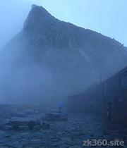 The terrace of Hotakadake mountain hut of rain.
